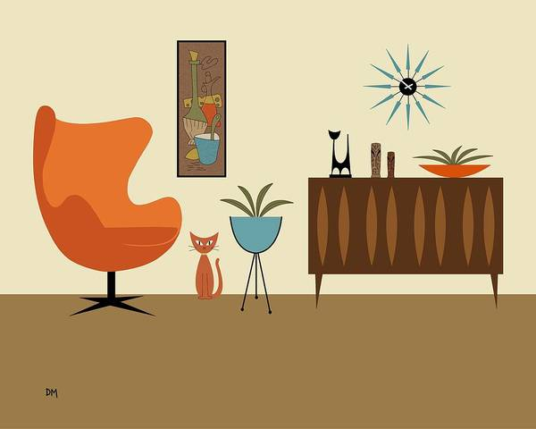 Digital Art - Mini Gravel Art With Orange Cat by Donna Mibus