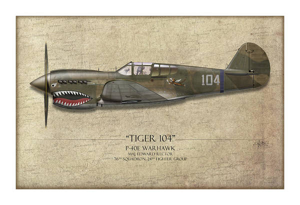 Volunteer Wall Art - Painting - Tiger 104 P-40 Warhawk - Map Background by Craig Tinder