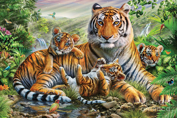 Multi Digital Art - Tiger And Cubs by MGL Meiklejohn Graphics Licensing