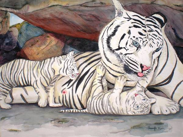 Wall Art - Painting - Tiger And Cubs by Jennifer Kwon