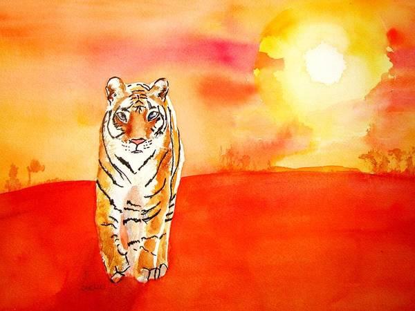 Savannah Painting - Tiger And Fiery Sun Watercolor by Carlin Blahnik CarlinArtWatercolor
