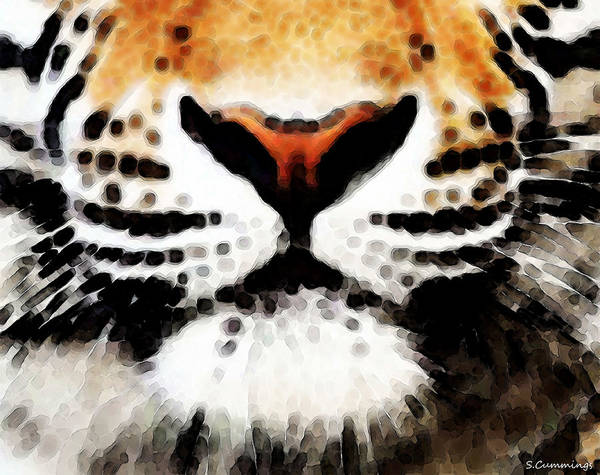 Big Cat Wall Art - Painting - Tiger Art - Burning Bright by Sharon Cummings