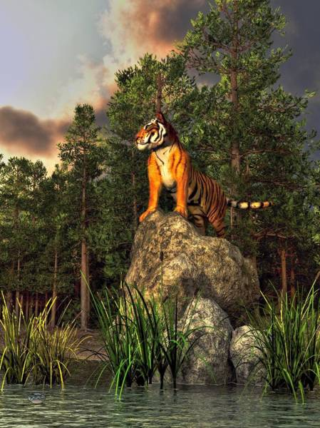Digital Art - Tiger By The Lake by Daniel Eskridge