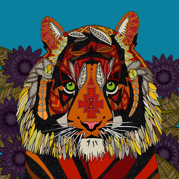 Wall Art - Drawing - Tiger Chief Blue by MGL Meiklejohn Graphics Licensing