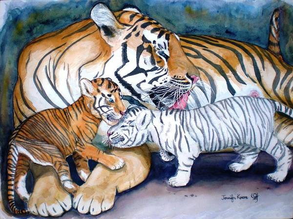 Wall Art - Painting - Tiger Cubs by Jennifer Kwon