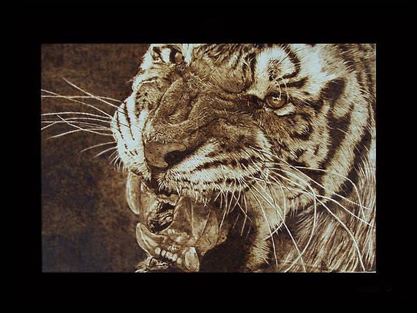 Pirografia Wall Art - Pyrography - Tiger by Davide Della Noce