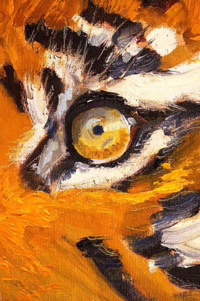 African Tiger Wall Art - Painting - Tiger Eye by Nancy Merkle