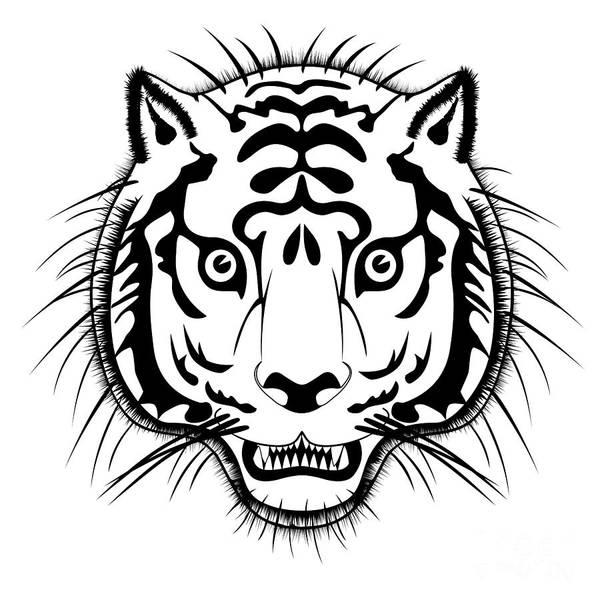 Wall Art - Digital Art - Tiger Head by Michal Boubin