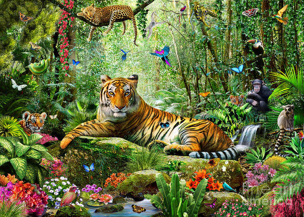 Tiger Digital Art - Tiger In The Jungle by MGL Meiklejohn Graphics Licensing