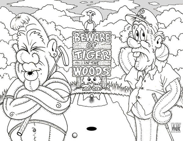 White Tiger Drawing - Tiger In The Woods by Cristophers Dream Artistry