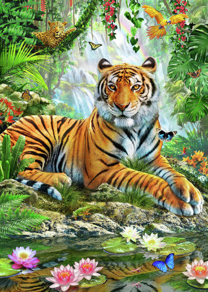 Wall Art - Drawing - Tiger On A Rock by MGL Meiklejohn Graphics Licensing