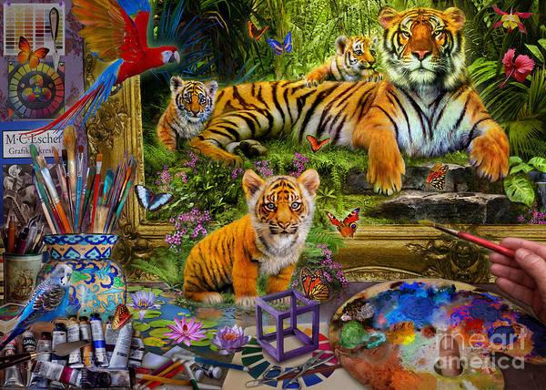 Wall Art - Digital Art - Tiger Painting by MGL Meiklejohn Graphics Licensing