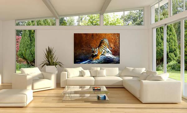 Digital Art - Tiger Painting Staged Room By Artist James Ahn by James Ahn