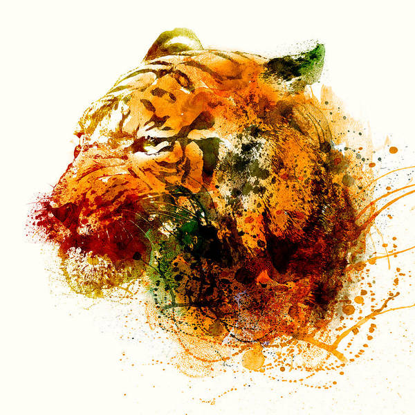Bengal Tiger Painting - Tiger Side Face by Marian Voicu