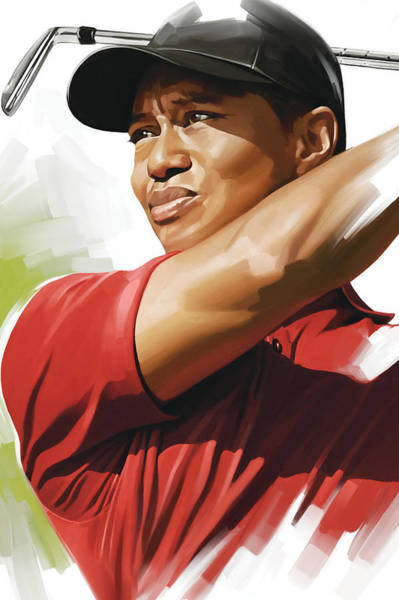 Golfer Wall Art - Mixed Media - Tiger Woods Artwork by Sheraz A