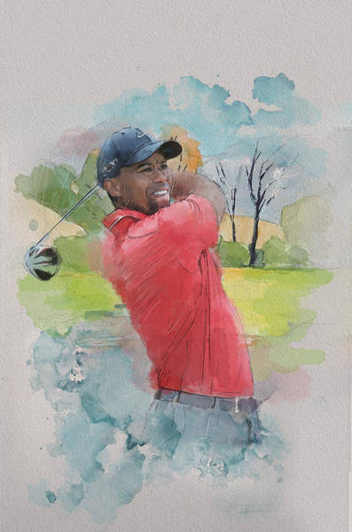 Playing Field Wall Art - Painting - Tiger Woods by Catf