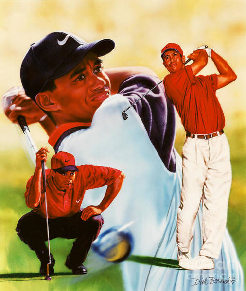 Wall Art - Painting - Tiger Woods by Dick Bobnick