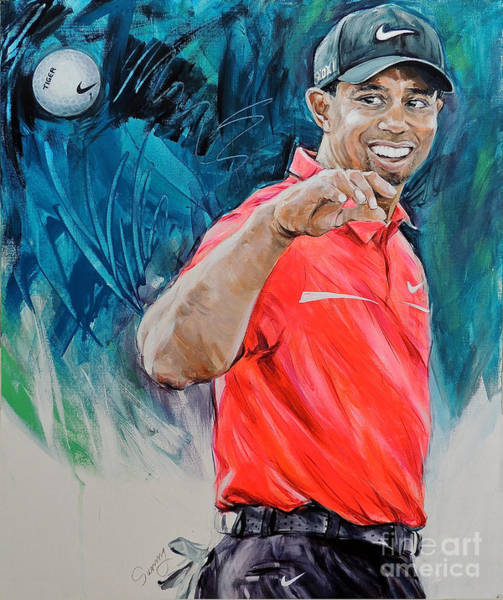 Augusta Masters Painting - Tiger Woods Got A Birdie by Sunny Shin