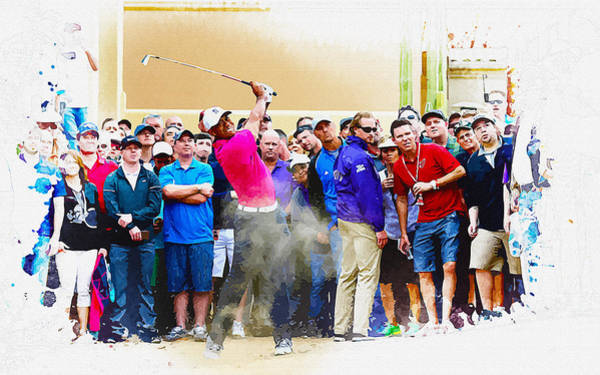 British Open Digital Art - Tiger Woods - The Waste Management Phoenix Open At Tpc Scottsdal by Don Kuing