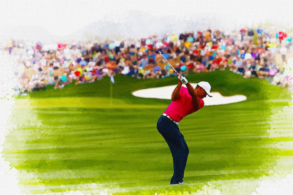 British Open Digital Art - Tiger Woods - The Waste Management Phoenix Open  by Don Kuing