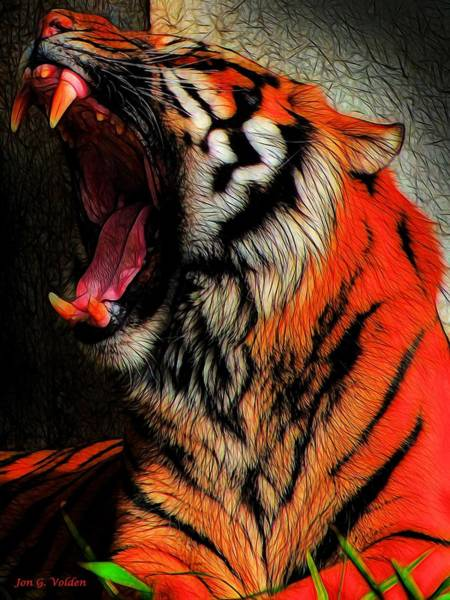 Painting - Tiger Yawning by Jon Volden