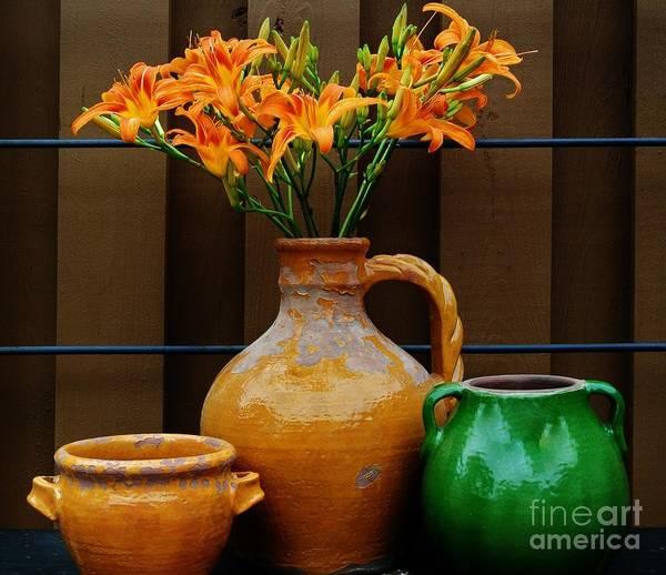 Tigerlilies And Pottery Art Print by Marsha Heiken
