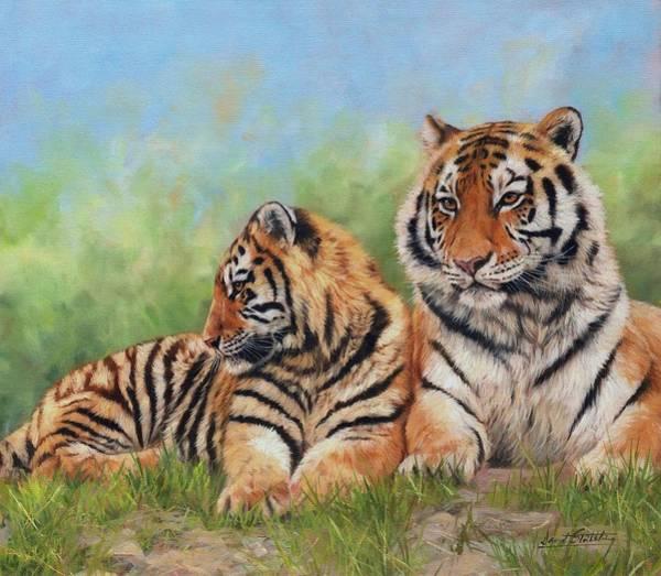 Siberian Tiger Wall Art - Painting - Tigers by David Stribbling