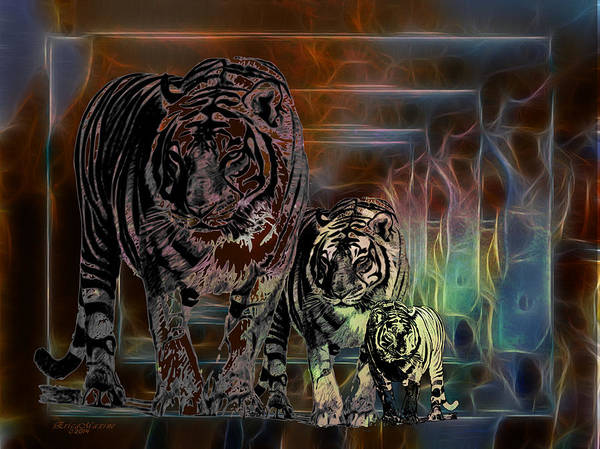 Digital Art - Tigers-featured In Visions In The Night by Ericamaxine Price