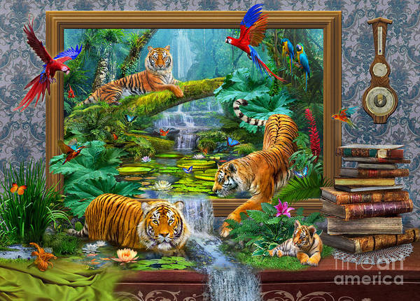 Parrot Digital Art - Tigers by MGL Meiklejohn Graphics Licensing