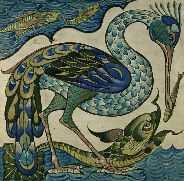 Wall Art - Painting - Tile Design Of Heron And Fish by Walter Crane