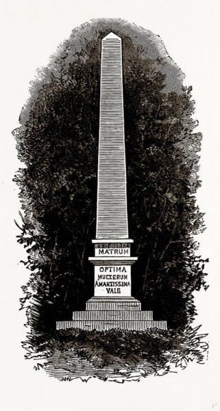 Tile Drawing - Tile Obelisk To Popes Mother, Uk, Engraving 1881 - 1884 by Litz Collection