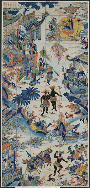 Tile Drawing - Tile Panel With Chinese Landscape, Anonymous by Quint Lox