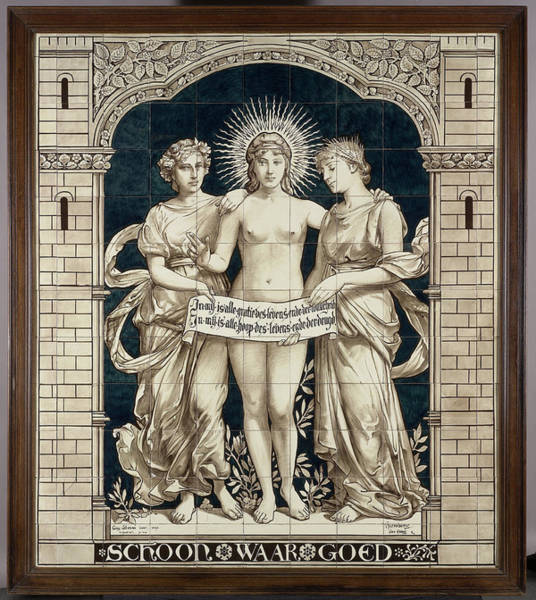 Tile Drawing - Tile Panel With The Personifications Of The Beautiful by Litz Collection