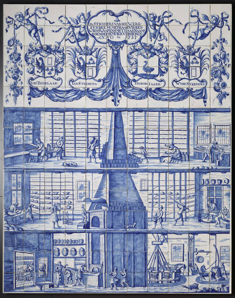 Tile Drawing - Tile Panel With The Tile And Pottery Factory In Bolsward by Litz Collection