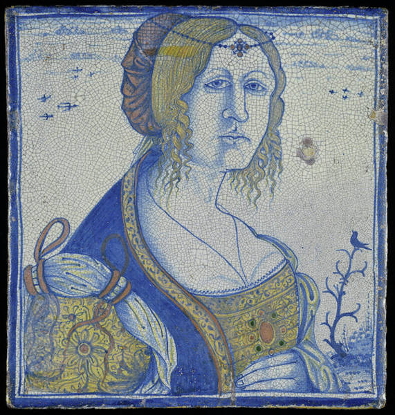 Tile Drawing - Tile With Portrait Of A Woman, Originally Used As A Brick by Litz Collection