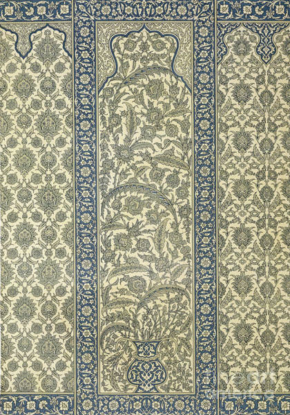 Floral Design Drawing - Tiled Panel From Mosque Of Ibrahym Agha From Arab Art As Seen Through The Monuments Of Cairo by Emile Prisse d Avennes
