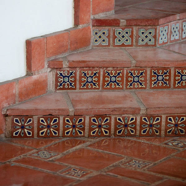 Santa Barbara Photograph - Tiled Stairway by Art Block Collections