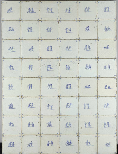 Tile Drawing - Tiles With Scenes Of Children Playing, Anonymous by Quint Lox