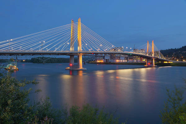Cable-stayed Bridge Photograph - Tilikum Crossing Bridge At Night by Panoramic Images