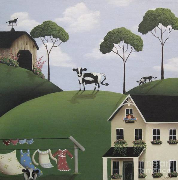 Naive Wall Art - Painting - Till The Cows Come Home by Catherine Holman