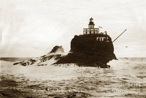 Photograph - Tillamook Rock Lighthouse Oregon Circa 1915 by California Views Archives Mr Pat Hathaway Archives