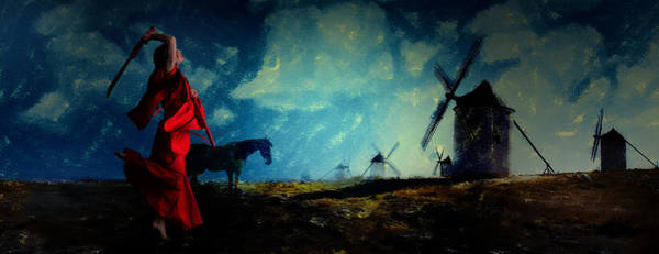 Digital Art - Tilting At Windmills by Galen Valle