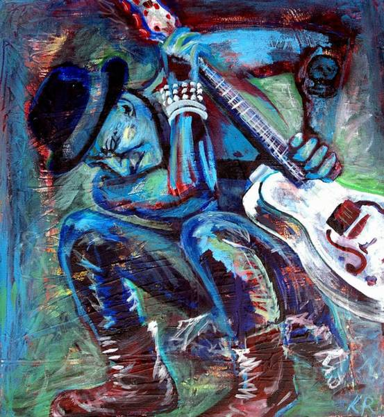 Punk Rock Wall Art - Painting - Tim Armstrong And Gretsch  by Kat Richey