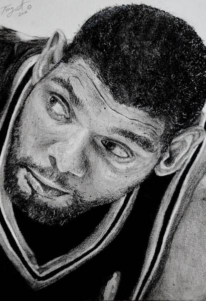 Nba Drawing - Tim Duncan Drawing The Champ Is Here by Tony Orcutt