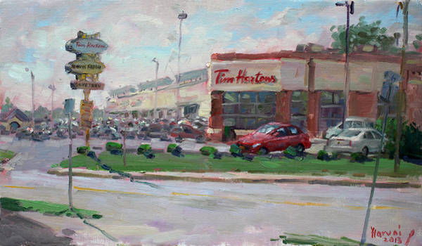 Wall Art - Painting - Tim Hortons By Niagara Falls Blvd Where I Have My Coffee by Ylli Haruni