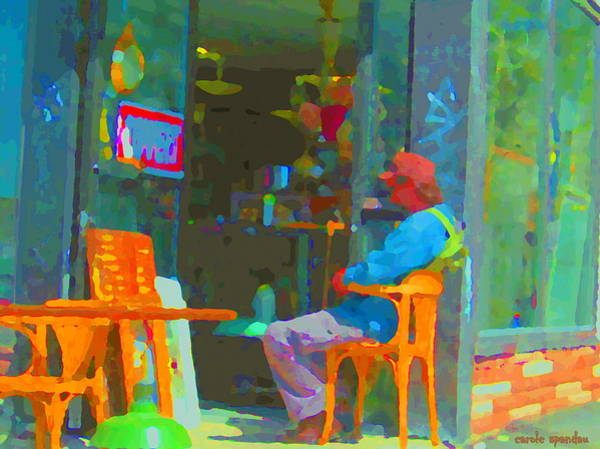 Painting - Tim Hortons Coffee And Donuts Sunday Aternoon At Tims Plateau Montreal Cafe Scene Carole Spandau by Carole Spandau