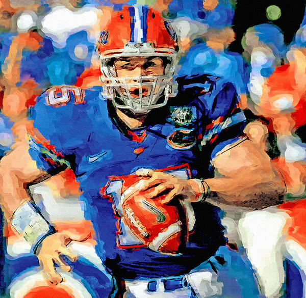 Gator Wall Art - Painting - Tim Tebow Mr. Florida Gator by John Farr
