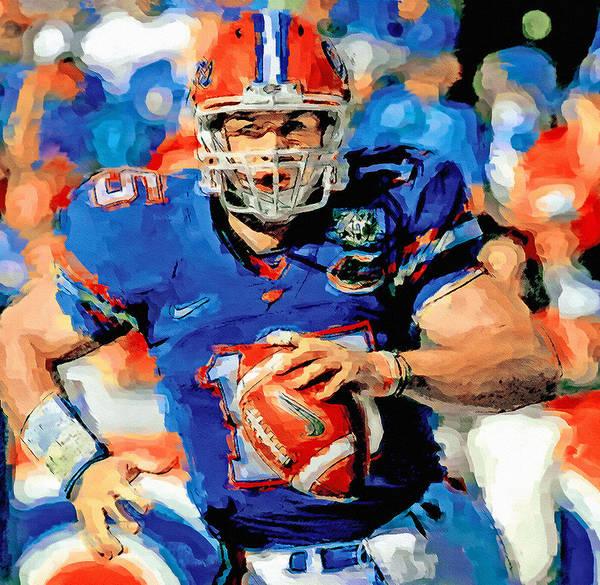 Gators Wall Art - Painting - Tim Tebow Mr. Florida Gator by John Farr