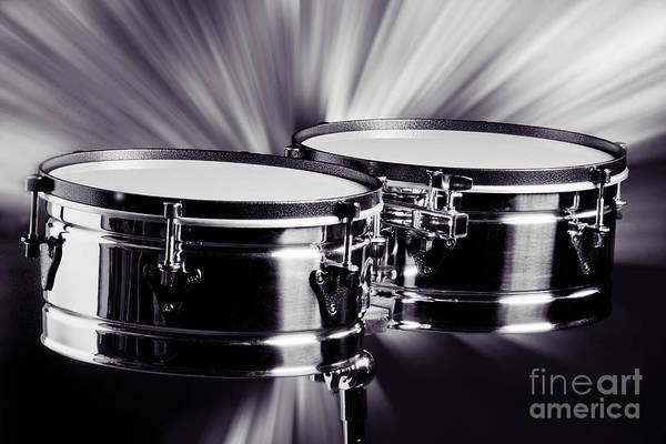 Photograph - Timbale Drums For Latin Music Photograph In Sepia 3325.01 by M K Miller