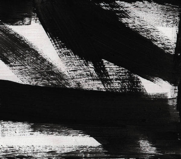 Stroke Painting - Timber 2- Horizontal Abstract Black And White Painting by Linda Woods